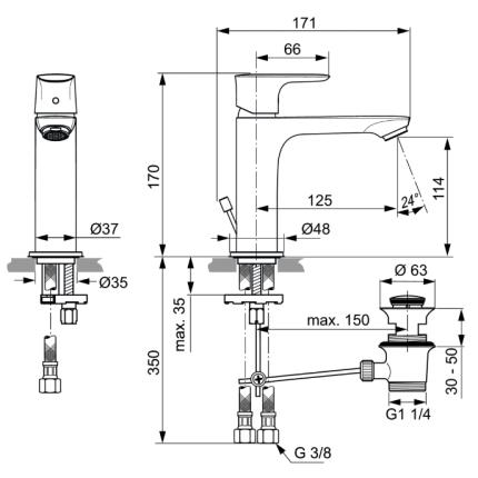 Baterie lavoar Ideal Standard Connect Air Grande, ventil pop-up
