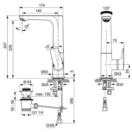 Baterie lavoar Ideal Standard Connect Air cu pipa inalta, ventil pop-up
