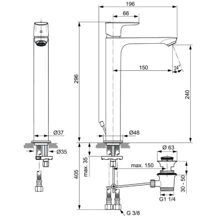 Baterie lavoar Ideal Standard Connect Air pentru lavoar tip bol, ventil pop-up