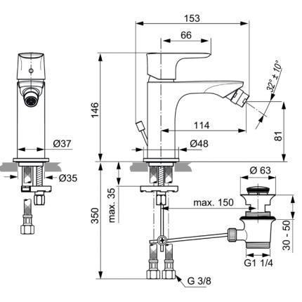 Baterie bideu Ideal Standard Connect Air