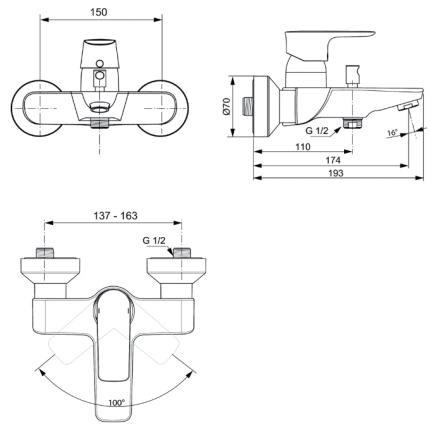 Baterie cada Ideal Standard Connect Air
