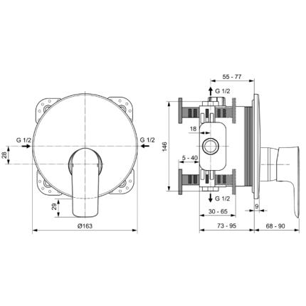 Baterie dus Ideal Standard Connect Air cu montaj incastrat, necesita corp ingropat