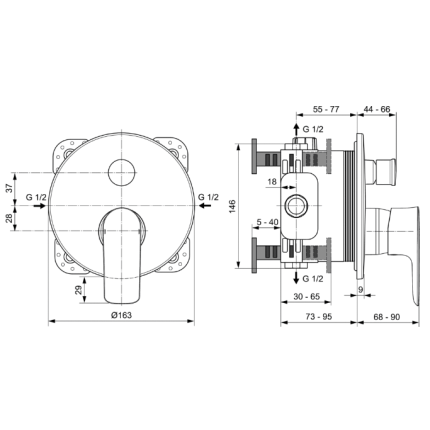 Baterie cada Ideal Standard Connect Air cu montaj incastrat, necesita corp ingropat