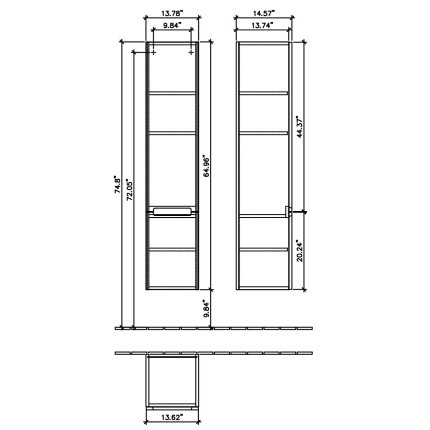 Dulap inalt suspendat Villeroy & Boch Subway 2.0 165x37x35cm, Glossy Grey