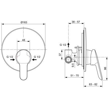 Baterie dus Ideal Standard Alpha, montaj incastrat, corp ingropat inclus