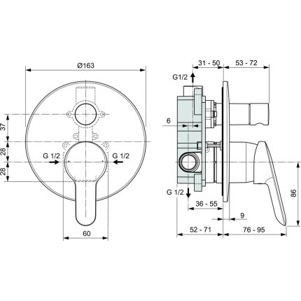 Baterie cada Ideal Standard Alpha, montaj incastrat, corp ingropat inclus