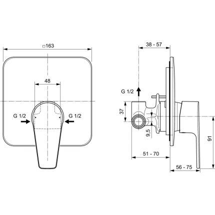 Baterie dus Ideal Standard Cerafine D cu montaj incastrat, corp ingropat inclus, gri perlat
