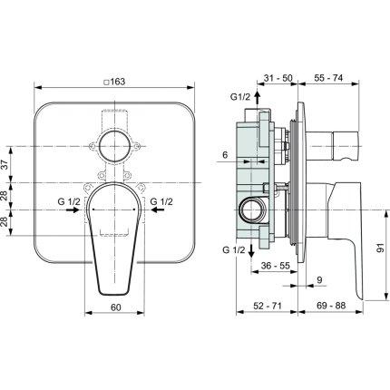 Baterie cada Ideal Standard Cerafine D cu montaj incastrat, corp ingropat inclus, crom