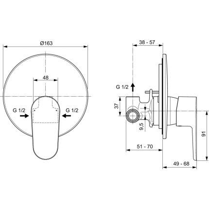 Baterie dus Ideal Standard Cerafine O cu montaj incastrat, corp ingropat inclus, crom