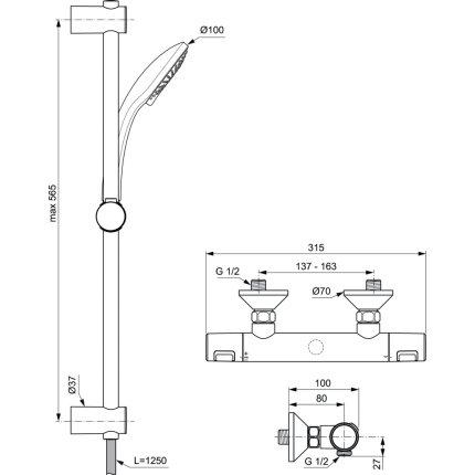 Baterie dus termostatata Ideal Standard Ceratherm T25 cu set de dus Idealrain