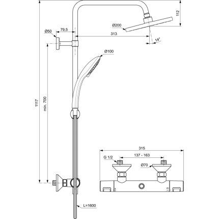 Coloana de dus Ideal Standard IdealRain cu baterie termostatata Ceratherm T25 si palarie Round 200mm