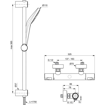 Baterie dus termostatata Ideal Standard Ceratherm T50 cu set de dus Idealrain Evo Jet Round