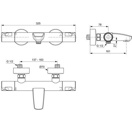 Baterie cada termostatata Ideal Standard Ceratherm T50
