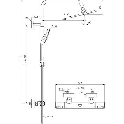 Coloana de dus Ideal Standard IdealRain cu baterie termostatata Ceratherm T50 si palarie Round 200mm