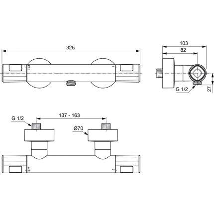 Baterie dus termostatata Ideal Standard Ceratherm T100
