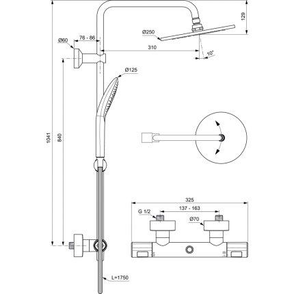 Coloana de dus Ideal Standard IdealRain cu baterie termostatata Ceratherm T100 si palarie Round 250mm
