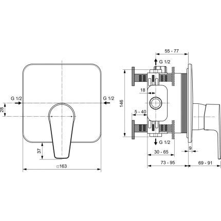 Baterie dus Ideal Standard Cerafine D cu montaj incastrat, necesita corp ingropat A1000NU, crom