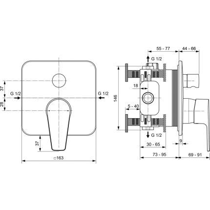 Baterie cada Ideal Standard Cerafine D cu montaj incastrat, necesita corp ingropat A1000NU, crom