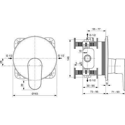 Baterie dus Ideal Standard Cerafine O cu montaj incastrat, necesita corp ingropat A1000NU, negru mat