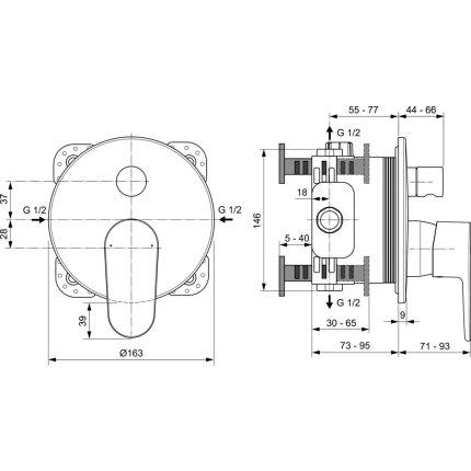 Baterie cada Ideal Standard Cerafine O cu montaj incastrat, necesita corp ingropat A1000NU, crom