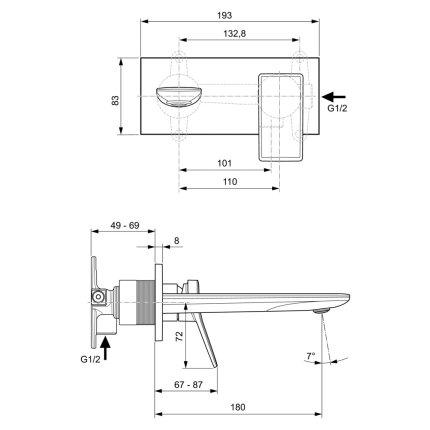 Baterie lavoar Ideal Standard Conca de perete, pipa 180mm, necesita corp ingropat, gri magnetic