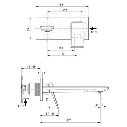Baterie lavoar Ideal Standard Conca de perete, pipa 220mm, necesita corp ingropat, auriu periat