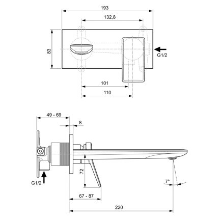Baterie lavoar Ideal Standard Conca de perete, pipa 220mm, necesita corp ingropat, gri magnetic