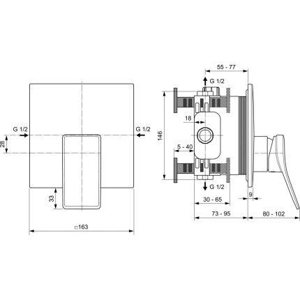 Baterie dus Ideal Standard Joy Square montaj incastrat, necesita corp ingropat, crom