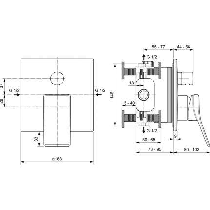 Baterie cada Ideal Standard Joy Square montaj incastrat, necesita corp ingropat, crom
