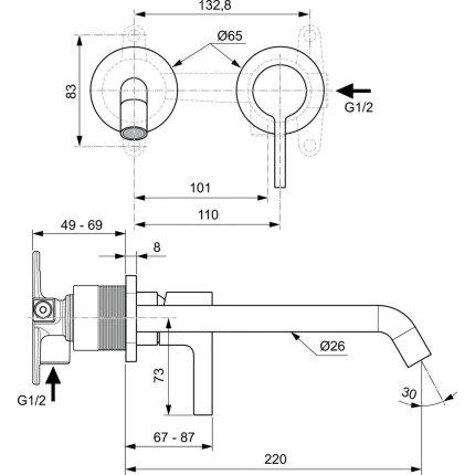 Baterie lavoar Ideal Standard Joy de perete, pipa 220mm, necesita corp ingropat, gri magnetic