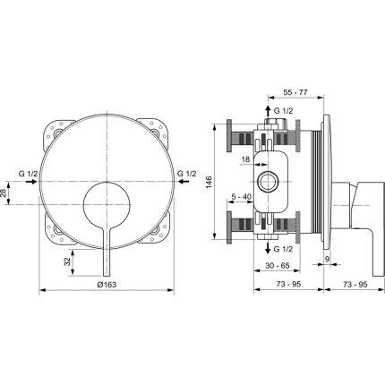 Baterie dus Ideal Standard Joy montaj incastrat, necesita corp ingropat, gri magnetic