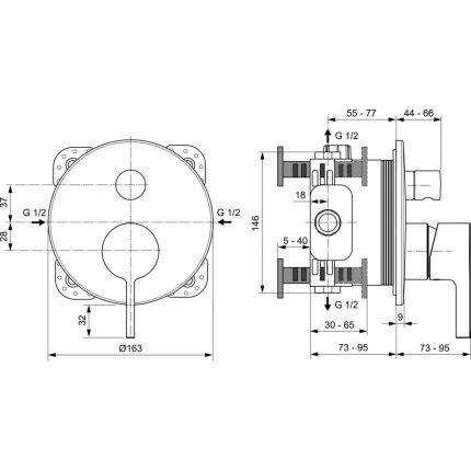 Baterie cada Ideal Standard Joy montaj incastrat, necesita corp ingropat, gri magnetic