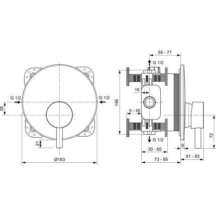 Baterie dus Ideal Standard Ceraline montaj incastrat, necesita corp incastrat, negru mat
