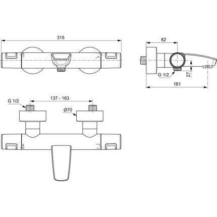 Baterie cada termostatata Ideal Standard Ceratherm T25, negru mat