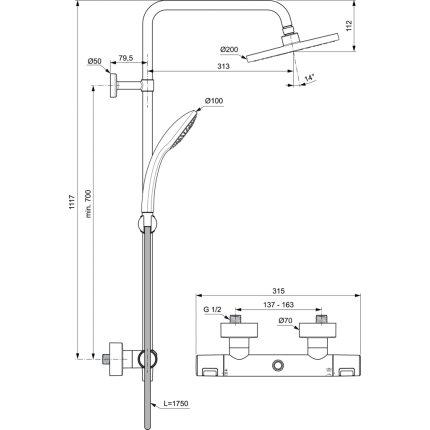 Coloana de dus Ideal Standard IdealRain cu baterie termostatata Ceratherm T25 si palarie Round 200mm, negru mat