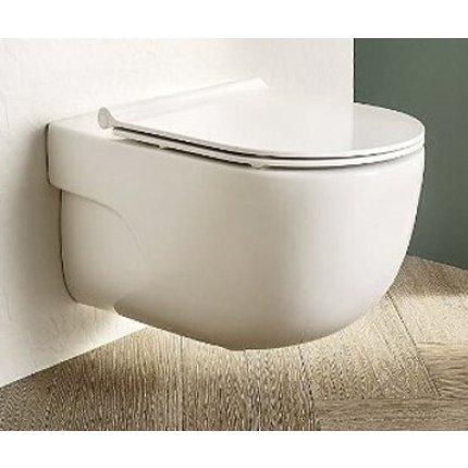 Set vas wc suspendat Roca Meridian Rimless 36x56cm si capac Slim cu inchidere lenta