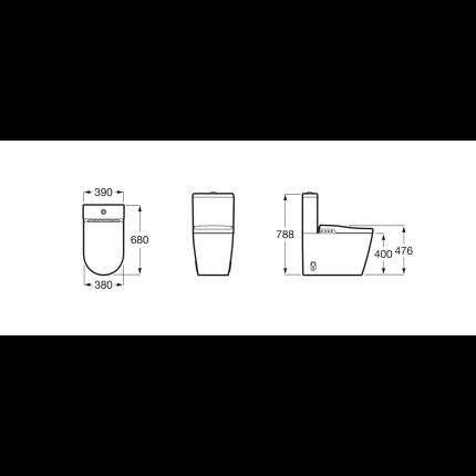 Set complet vas WC Roca Inspira In-Wash, Back-to-wall, cu rezervor, capac inchidere lenta, functie de bideu electric