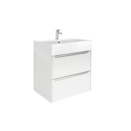 Set mobilier Roca Inspira 60cm lavoar si dulap baza cu doua sertare, alb lucios