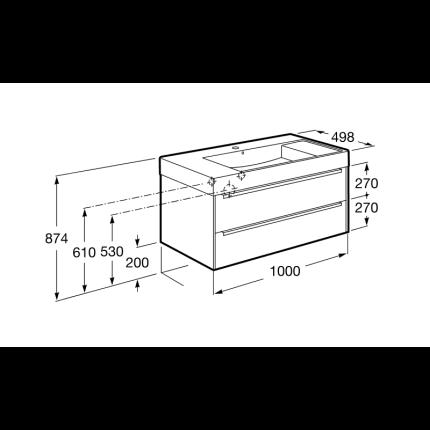 Set mobilier Roca Inspira 100cm lavoar si dulap baza cu doua sertare, stejar - fumuriu