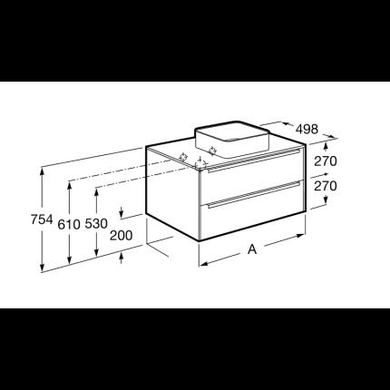 Dulap baza Roca Inspira 60cm, cu doua sertare, pentru lavoare tip bol, alb lucios