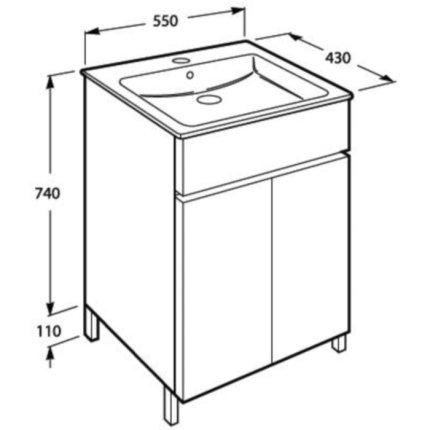 Set mobilier Roca Cube lavoar si dulap baza cu 2 usi 55x43cm, alb