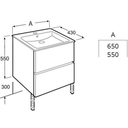 Set mobilier Roca Cube lavoar si dulap baza cu 2 sertare 55x43cm, alb