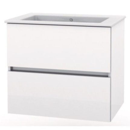 Set mobilier Roca Cube lavoar si dulap baza cu 2 sertare 65x43cm, alb