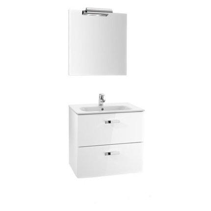 Set mobilier Roca Victoria Basic dulap baza cu 2 sertare 60x45cm alb, lavoar si oglinda iluminata