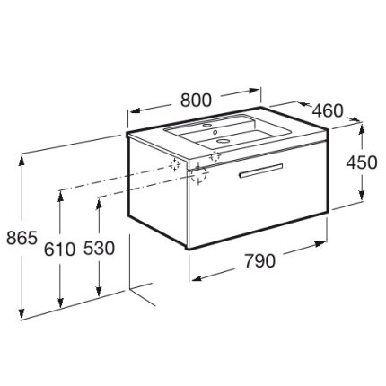 Set mobilier Roca Prisma lavoar 80cm si dulap baza cu 1 sertar, alb