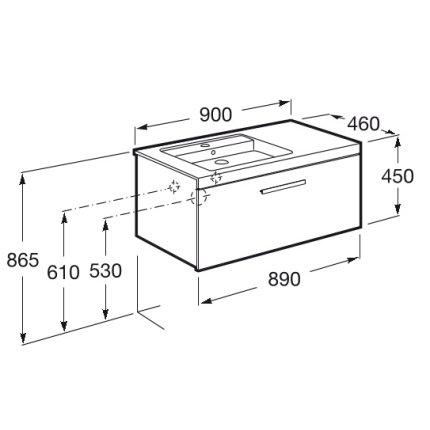 Set mobilier Roca Prisma lavoar 90cm stanga si dulap baza cu 1 sertar, alb/frasin