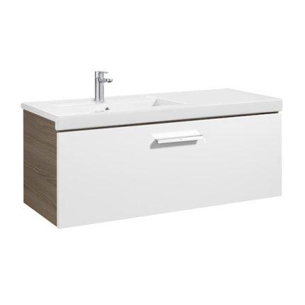 Set mobilier Roca Prisma lavoar 110cm stanga si dulap baza cu 1 sertar, alb/frasin