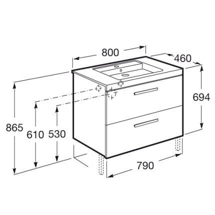 Set mobilier Roca Prisma lavoar 80cm si dulap baza cu 2 sertare, alb