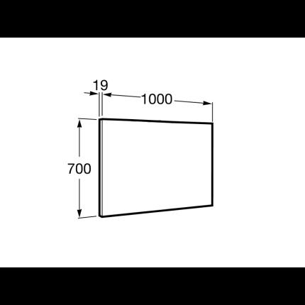 Set mobilier Roca Debba Standard dulap baza cu 2 sertare 100x46cm Stejar Texturat, lavoar si oglinda iluminata