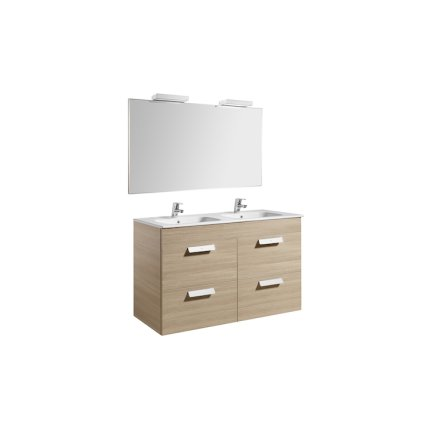 Set mobilier Roca Debba Standard 120cm, dulap baza cu 4 sertare, stejar texturat, lavoar dublu, oglinda si 2 corpuri iluminat